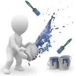 Painter Icon with Blue Paint Cans & Brushes